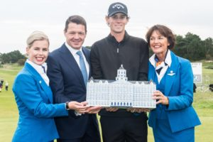 13-09-15 European Tour 2015, KLM Open, Kennemer G&CC, Zandvoort, The Netherlands. 10-13 Sep. Thomas Pieters of Belgium during the price ceremony..