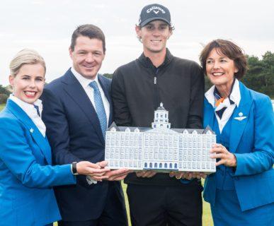 13-09-15 European Tour 2015, KLM Open, Kennemer G&CC, Zandvoort, The Netherlands. 10-13 Sep. Thomas  Pieters of Belgium during the price ceremony..